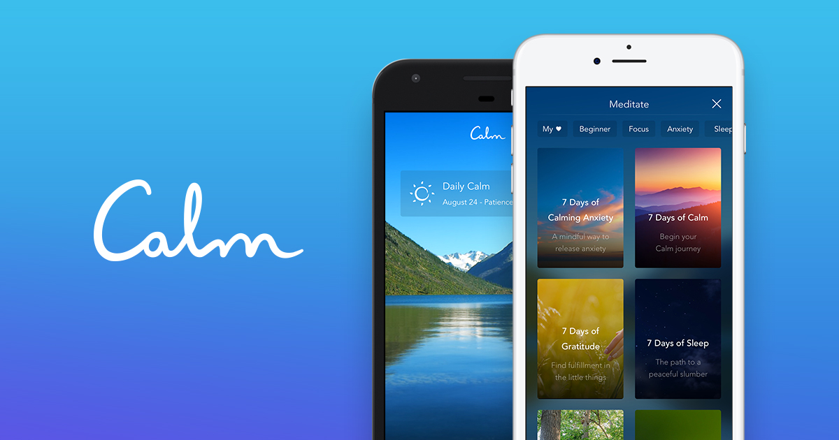 Photo of two iPhones showing options on the Calm meditation app.